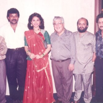 Chiranjeevi, Satish Kaushik, Meenakshi Seshadri with NN Sippy, music composer Anand Milind and lyricist Sameer