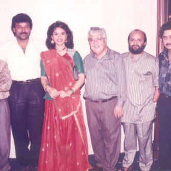 Chiranjeevi, Satish Kaushik, Meenakshi Seshadri with NN Sippy, music composer Anand Milind and lyricist Sameer